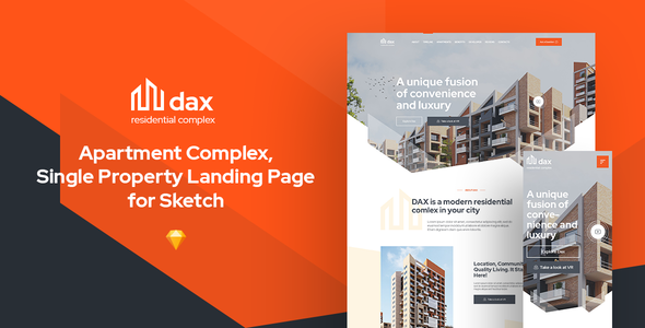 [Free Download]    DAX - Condominium complex landing webpage for Sketch (canceled) [Latest Version]